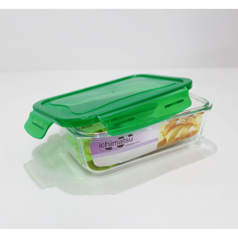 ICHIMATSU Taper Refractario Rectang. 900ml Verde Verde Sets de almacenamiento y organización de alimentos