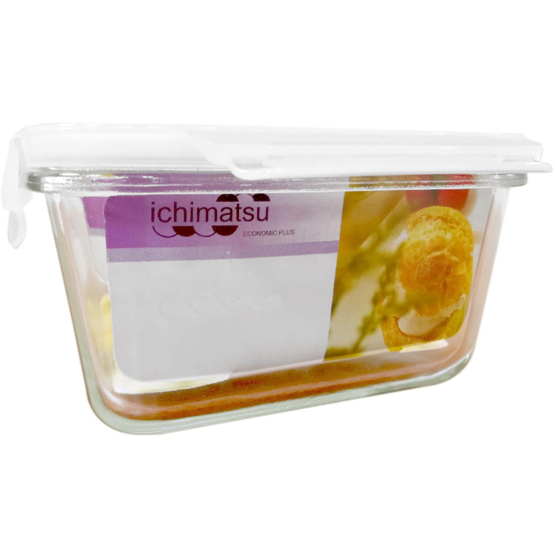 ICHIMATSU Taper Vidrio Rectang 0.55lt C/T Hermet Blanco Sets de almacenamiento y organización de alimentos