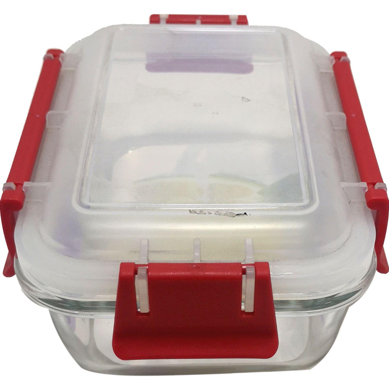 ICHIMATSU Taper Vidrio Rectang 0.55lt T/Broche R Rojo Sets de almacenamiento y organización de alimentos