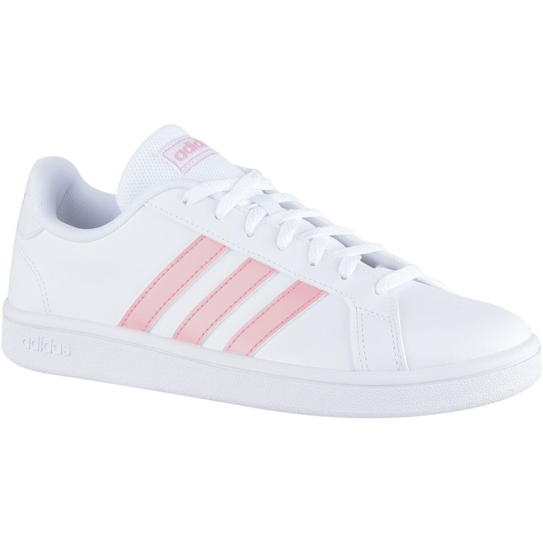 S t Ídolo cooperar  Adidas Grand Court Base Blanco / rosado Para caminar | platanitos.com
