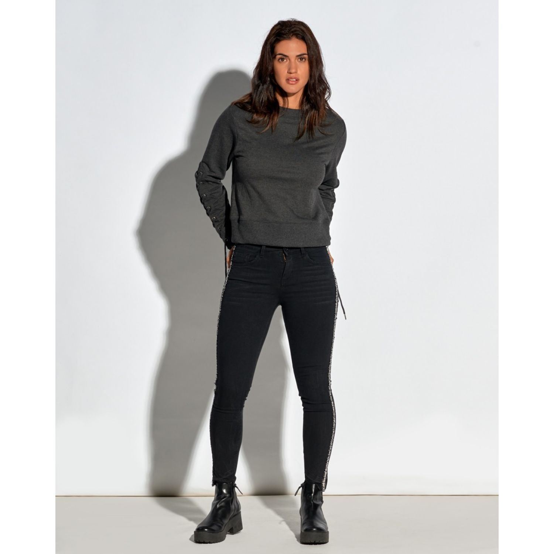Octo Denim Co Sweatshirt Lila Melange Gris Hoodies y Sweaters Fashion