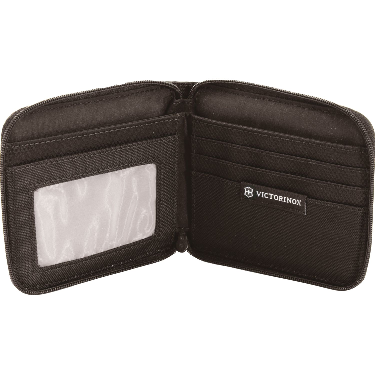 Victorinox Billetera Zip-Around Wallet, Black Negro Billeteras