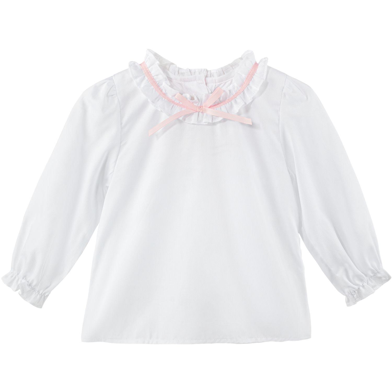 BABY CLUB CHIC BLUSA C/BOBO Y LAZO Blanco Blusas y camisas de botones