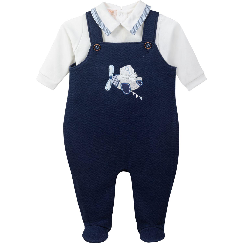 BABY CLUB CHIC Set Polo Cuello Bebe Y Overall Acolchado C Bord Ind Azul Juegos de Ajuar para Bebé