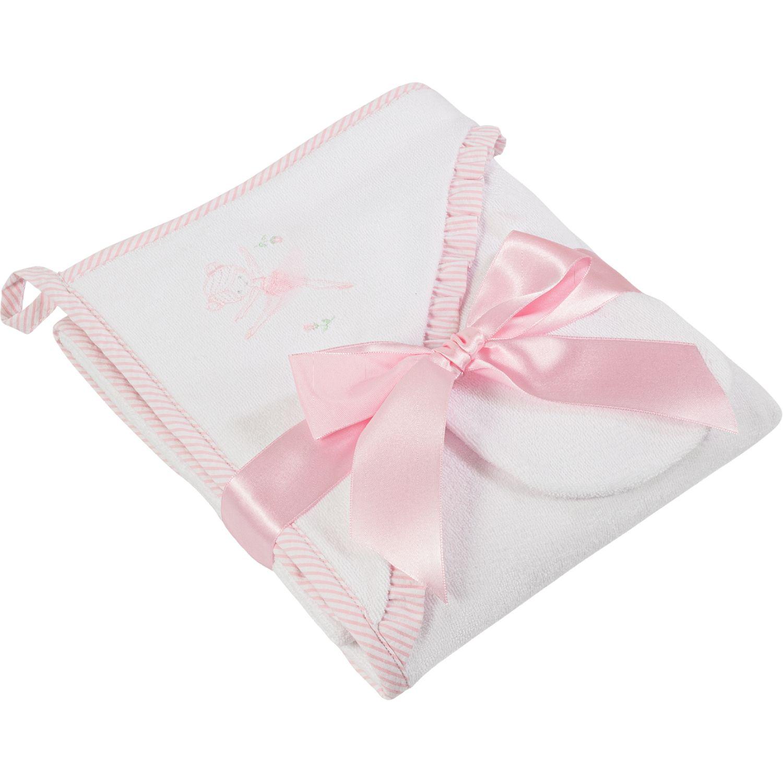 BABY CLUB CHIC Toalla Con Manopla Y Bord Ind Blanco / rosado Toallas de baño y con capucha