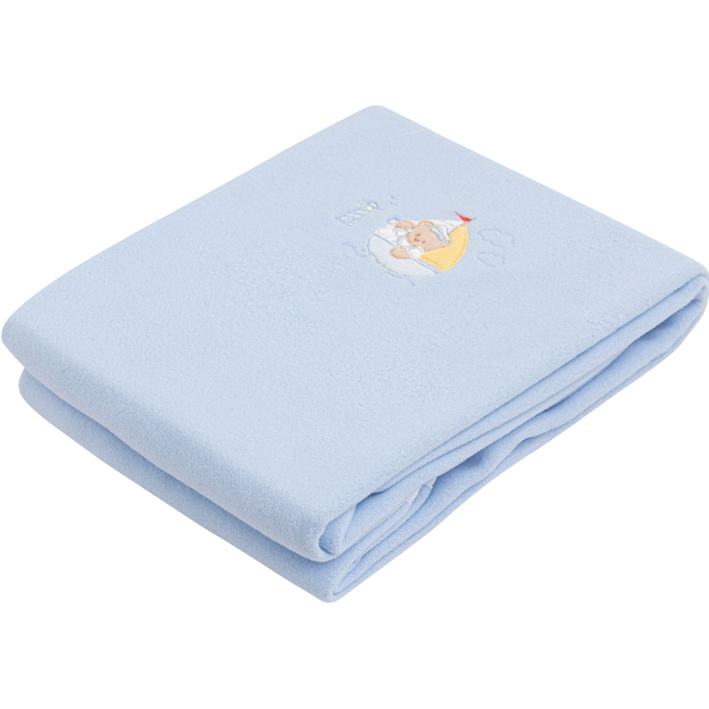 BABY CLUB CHIC Manta Polar Dos Capas C/ Bord Y Picueta Blanco / celeste Cobijas para cama
