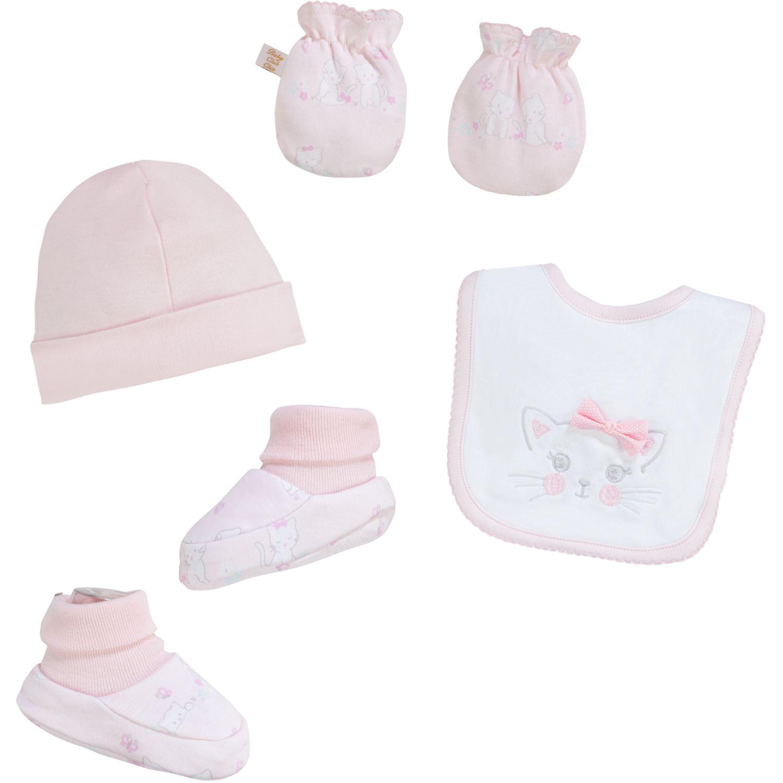 BABY CLUB CHIC SET BABERO MITONES GORRO Y BOTITAS Blanco / rosado guantes y mitones