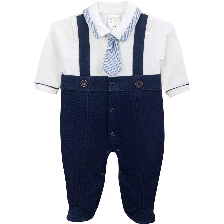 BABY CLUB CHIC Enterizo Falso Overall C Corbata Azul Peleles