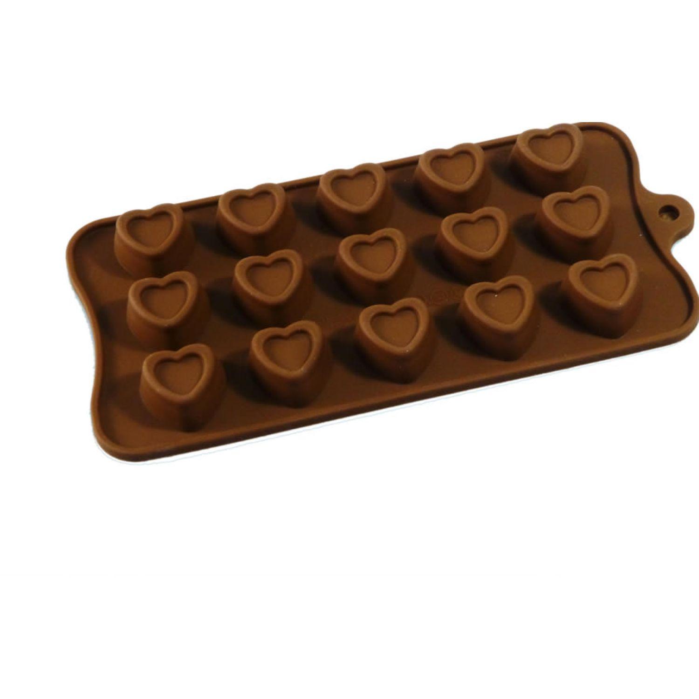 ICHIMATSU Molde Silicona P/Chocolate Corazon Marron Moldes para fabricar dulces, chocolates y fondant