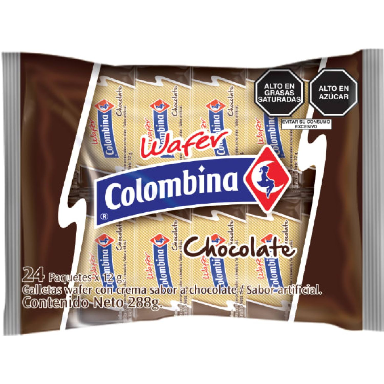 Colombina Wafer Sabor Chocolate X 24 Und Sin color Wafers