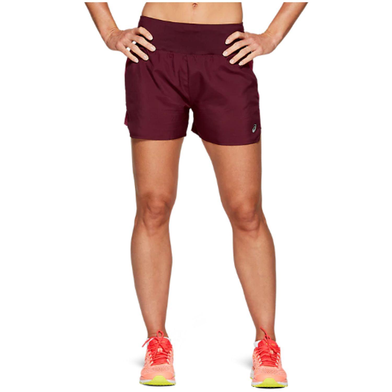 Asics W 3.5in Short Deep Mars/Chili Flke Guinda Shorts deportivos