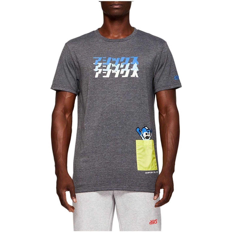 Asics M Rm Graphic Ss 2 Perf Black Hthr Gris Camisetas y Polos Deportivos