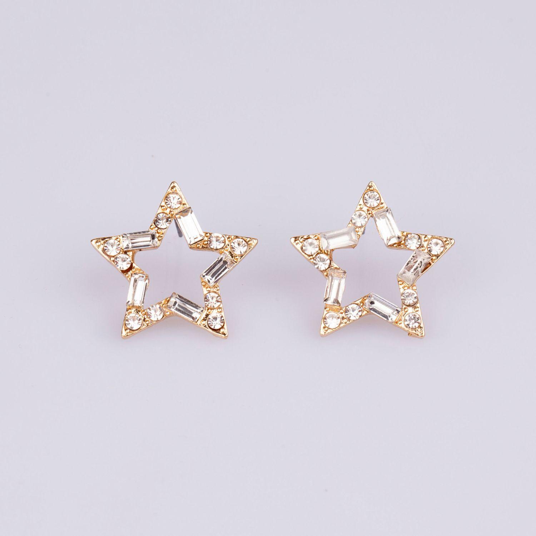 BE SIFRAH Arete Star Cristal Aretes de botón