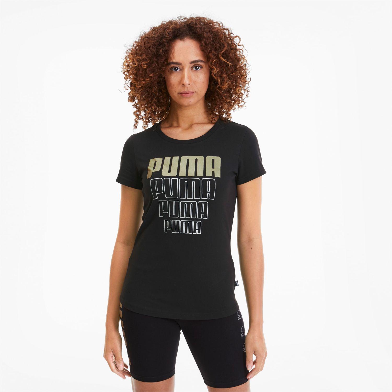 Puma Rebel Graphic Tee Negro / dorado Polos