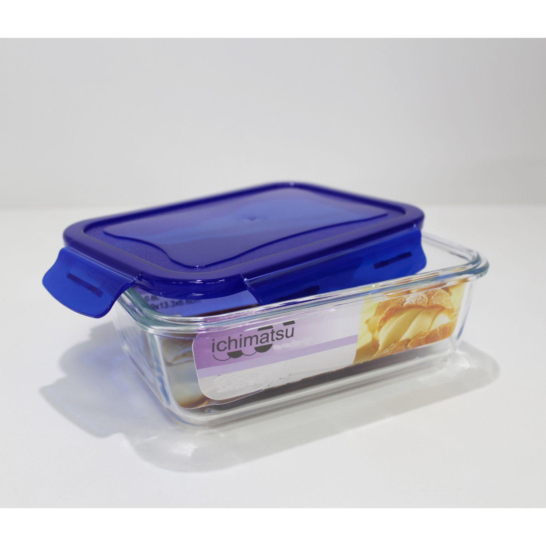 ICHIMATSU Taper Vidrio Rectang. 900 Ml Eco.Plus Azul Sets de almacenamiento y organización de alimentos