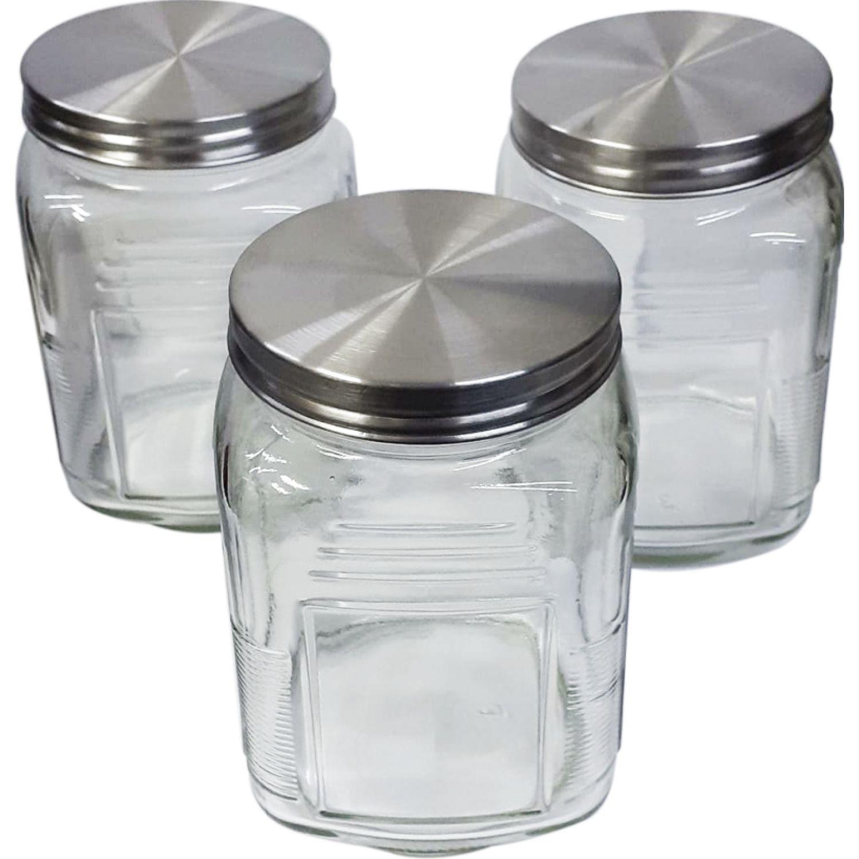 HEREVIN Set De 3 Canisters Cuadrado 750 Cc Transparente Frascos y Ollas de Alimentos