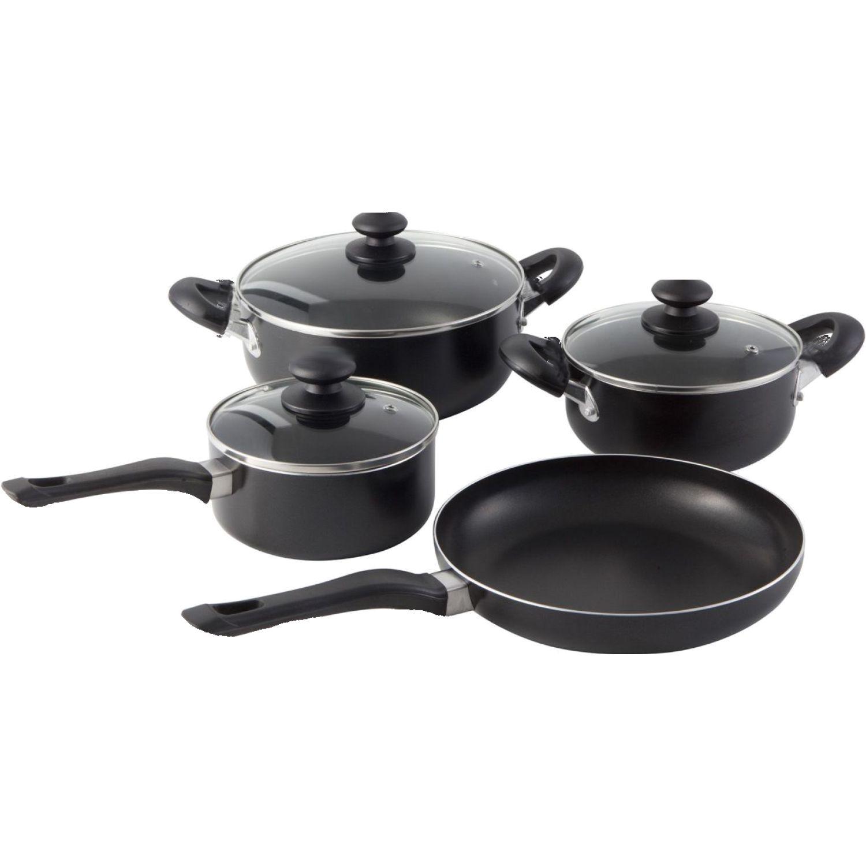 ICHIMATSU Jgo Olla Antiadh X 7 Pz  Ollax3/Sarten Negro Juegos de utensilios de cocina
