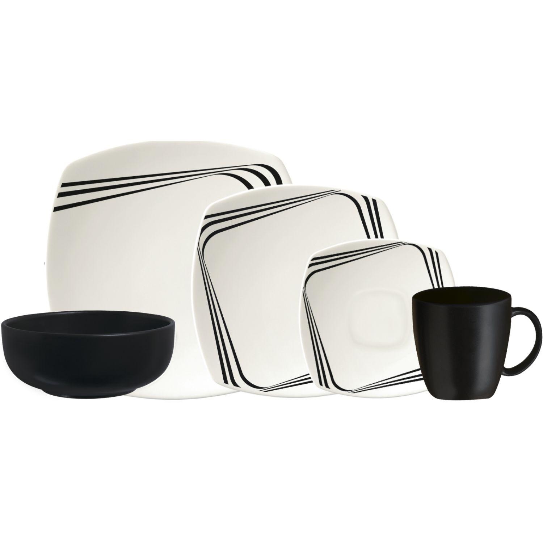 CORONA Vajilla 4/20 Dark - Mug Vl104d040120 Blanco / negro Juegos de vajilla