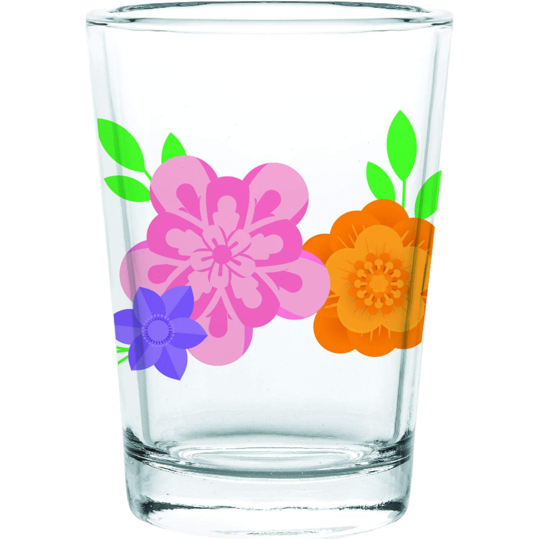 CRISTAR Vaso Can Herradura Jugo Dec Flores Varios Juegos de cristalería