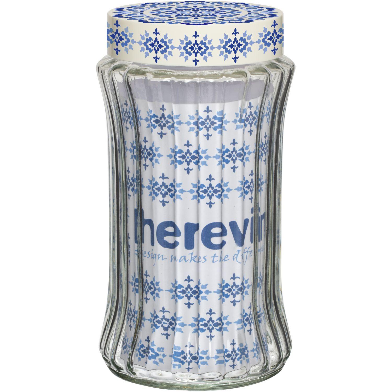 HEREVIN Frasco 1550cc C/Relieve Dec Etnico Transparente Frascos y ollas de alimentos