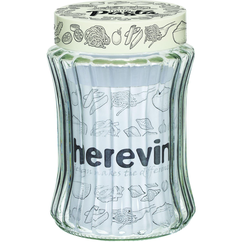 HEREVIN Frasco 1250cc C/Relieve Dec Pasta Transparente Frascos y ollas de alimentos