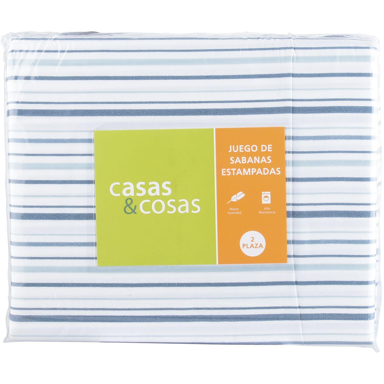 C&C 2pl Jgo Sabanas  Estam Rayas MULTICOLOR Juegos de sábanas y fundas de almohada