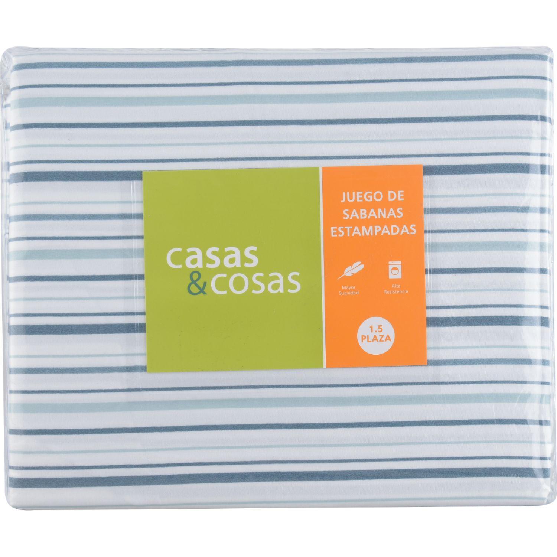 C&C 1.5pl Jgo Sabanas Est Rayas MULTICOLOR Juegos de sábanas y fundas de almohada