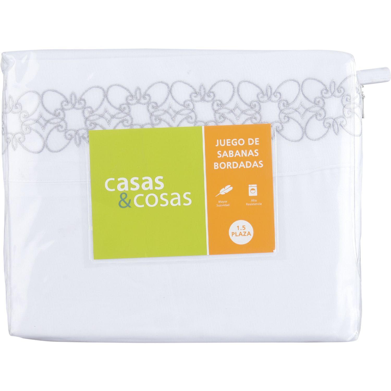 C&C 1.5pl Jgo Sabanas Bordado Gris Gris Juegos de sábanas y fundas de almohada