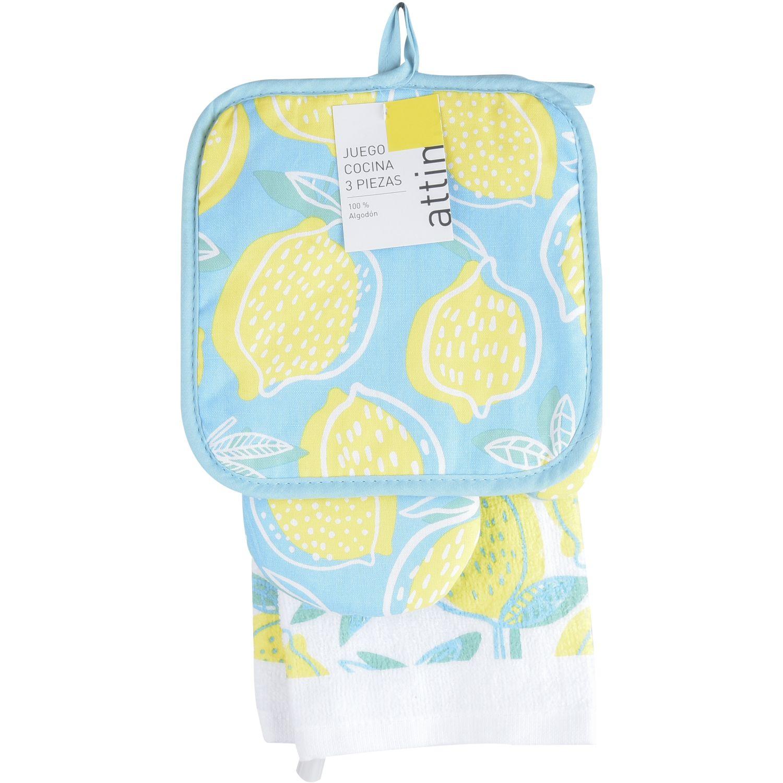 ATTIMO Pack X3 Limones MULTICOLOR Trapos y toallas para platos