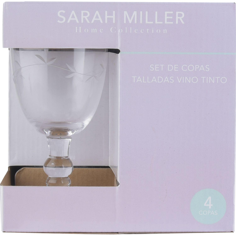 SARAH MILLER SET X4 COPAS VINO 350ML Transparente Copas de vino