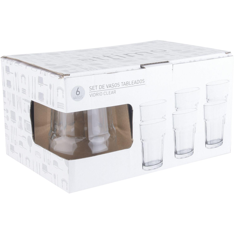 ATTIMO Set X6 Vasos Tableados Transparente Juegos de Cristalería
