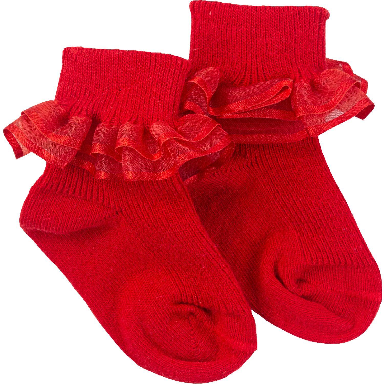 BABY CLUB CHIC Medias Con Organza Rojo Calcetines