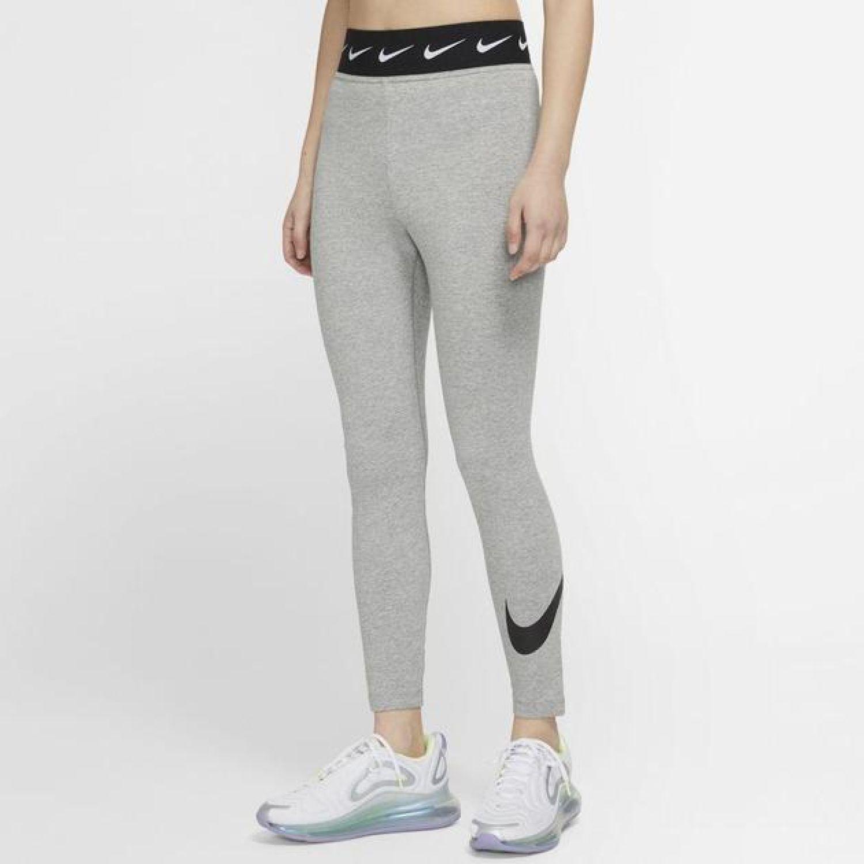 Nike W Nsw Lggng Club Hw Swoosh Gris Leggings deportivos