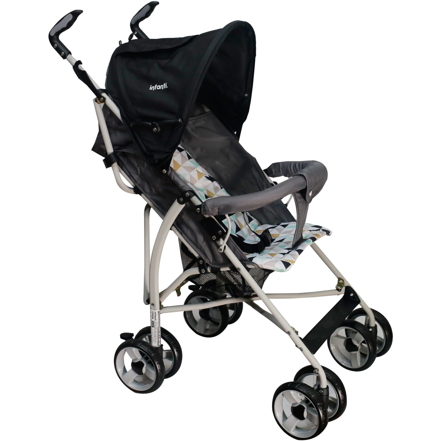 INFANTI COCHE BASTON SPIN TRIANGLES BLACK Negro Ligero