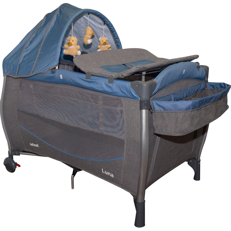 INFANTI Corral Cuna Luna Zigzag Blue Azul Camas de viaje