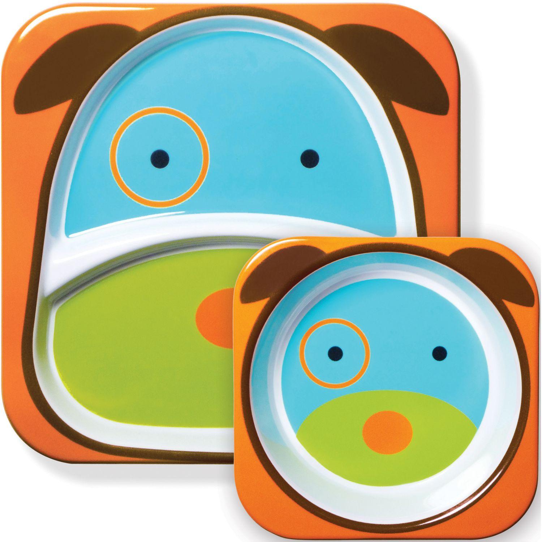 SKIP HOP Set Plato & Bowl Zoo Perrito Naranja / Celeste Platos