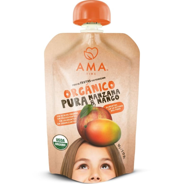Ama Time Pure Manzana Y Mango Orgánico X 90g Sin color Copas de frutas