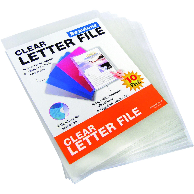 BEAUTONE File Ordenador 44004-A4- Bolsa X 10 Und Transparente Expansor de archivos y bolsillos de archivos