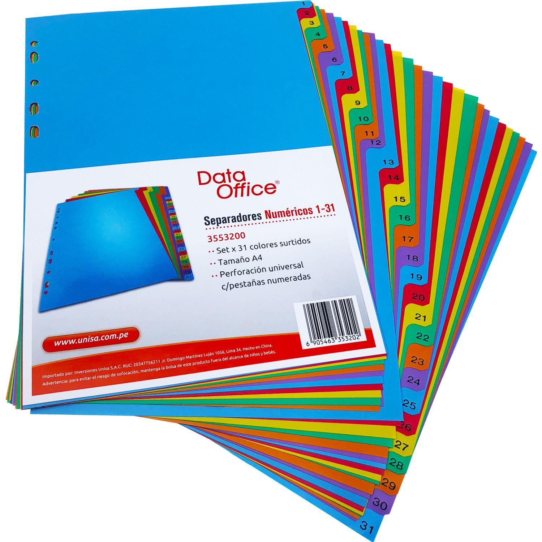 DATA OFFICE Separadores 3553200 (1-31) Bol X 31 - A4 Varios Divisores de índice carpeta