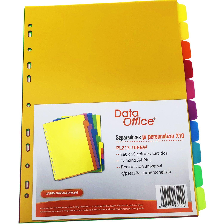 DATA OFFICE Separadores Plus Pl213-10 A4 Bol X 10 Varios Divisores de índice carpeta