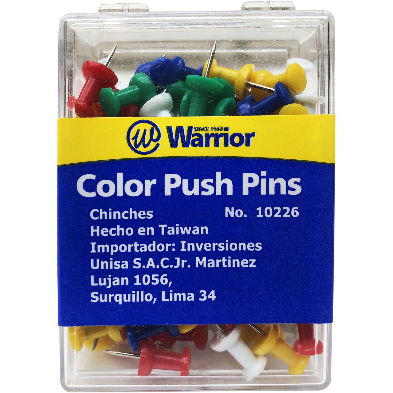 WARRIOR Chinches Indicadores  10226 -Push Pin- Cja X 100 Varios Pasadores y tachuelas