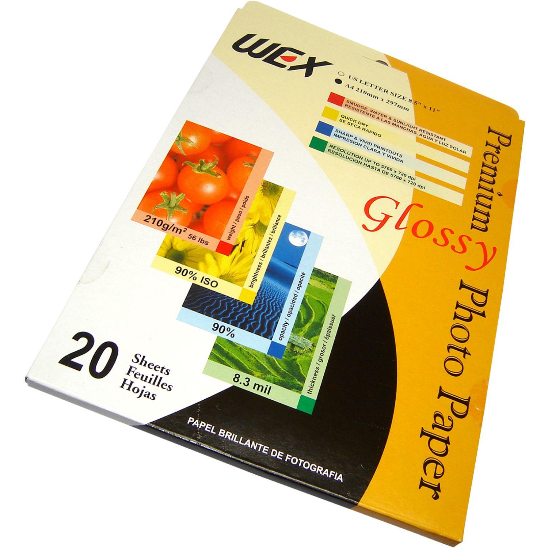 WEX Papel Fotográfico Pp-A4 170 Gr. X 20 Hjs. Sin color Papel fotográfico