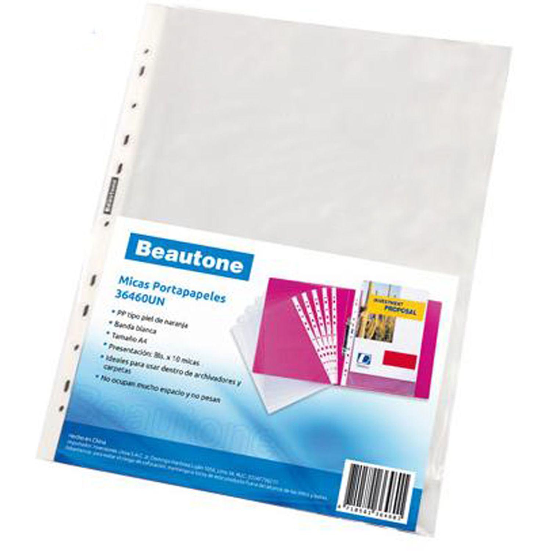BEAUTONE Micas Portap. 36460 A4-Bls X 10 Un Transparente Protectores de hojas, tarjetas y fotos
