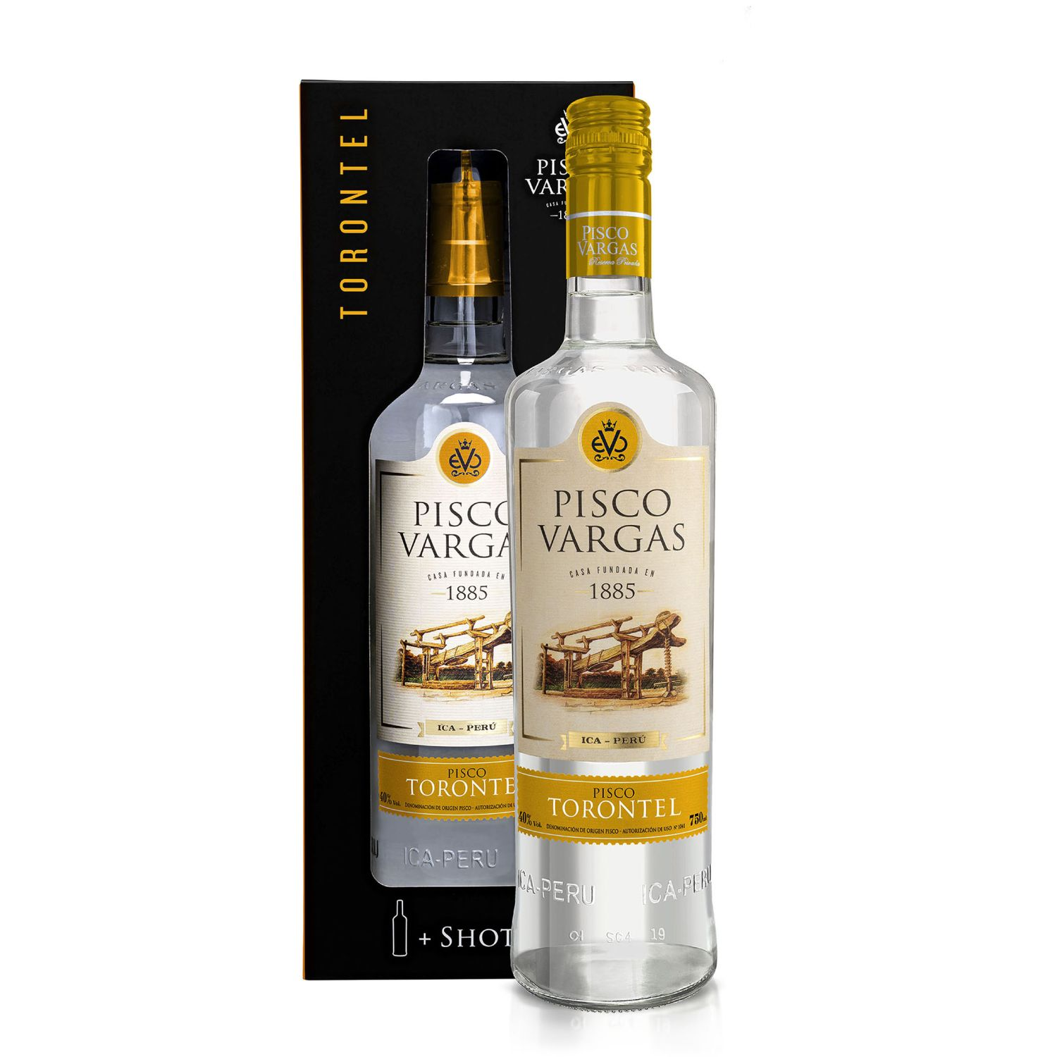 PISCO VARGAS Reserva Privada Torontel Sin color Brandy y aguardientes