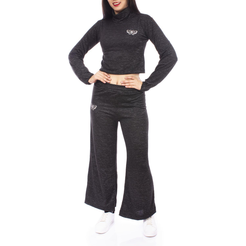 Andoas Clothing Conjunto Angora Crop + Palazzo Gris Gris oscuro Buzos deportivos