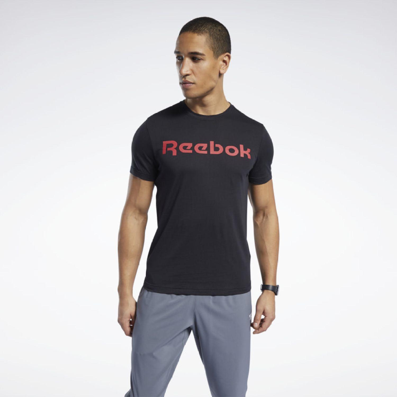 Reebok GS Reebok Linear Read Tee Negro / rojo Camisetas y Polos Deportivos