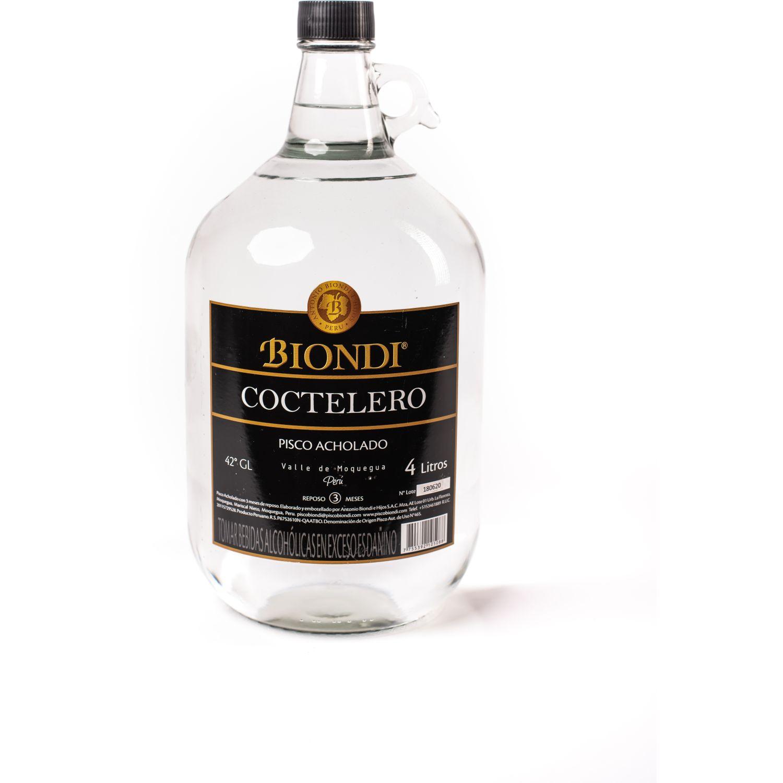 PISCO BIONDI Pisco Coctelero Acholado X 4 Litros Sin color Brandy y aguardientes