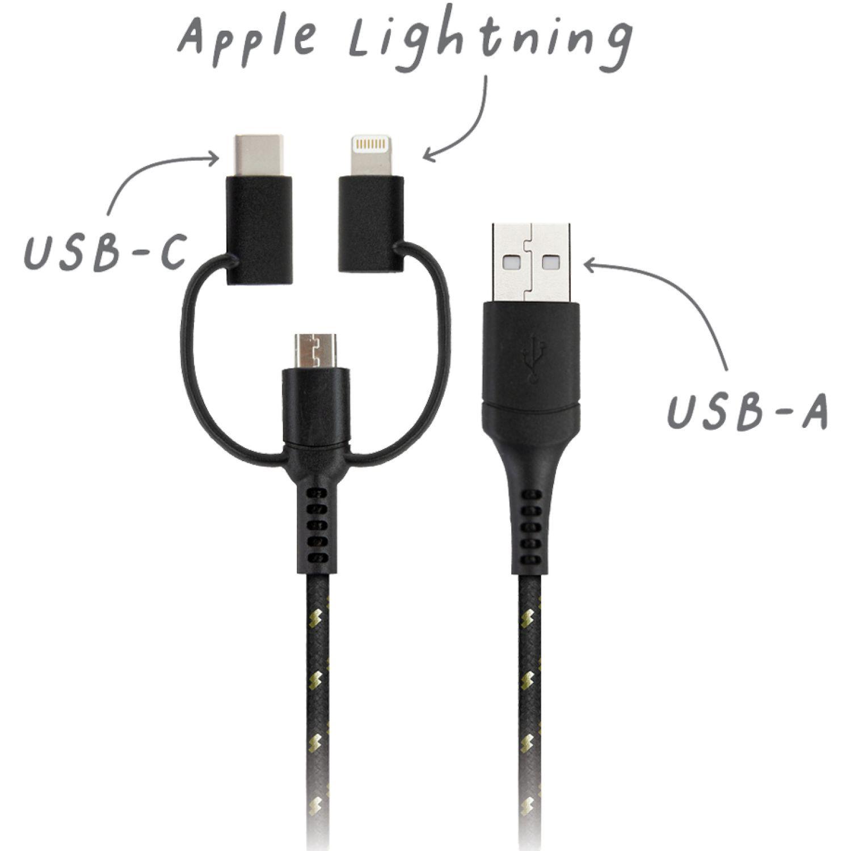 USBEPOWER Cable Usb 3 En 1 Para Apple-Trioblk