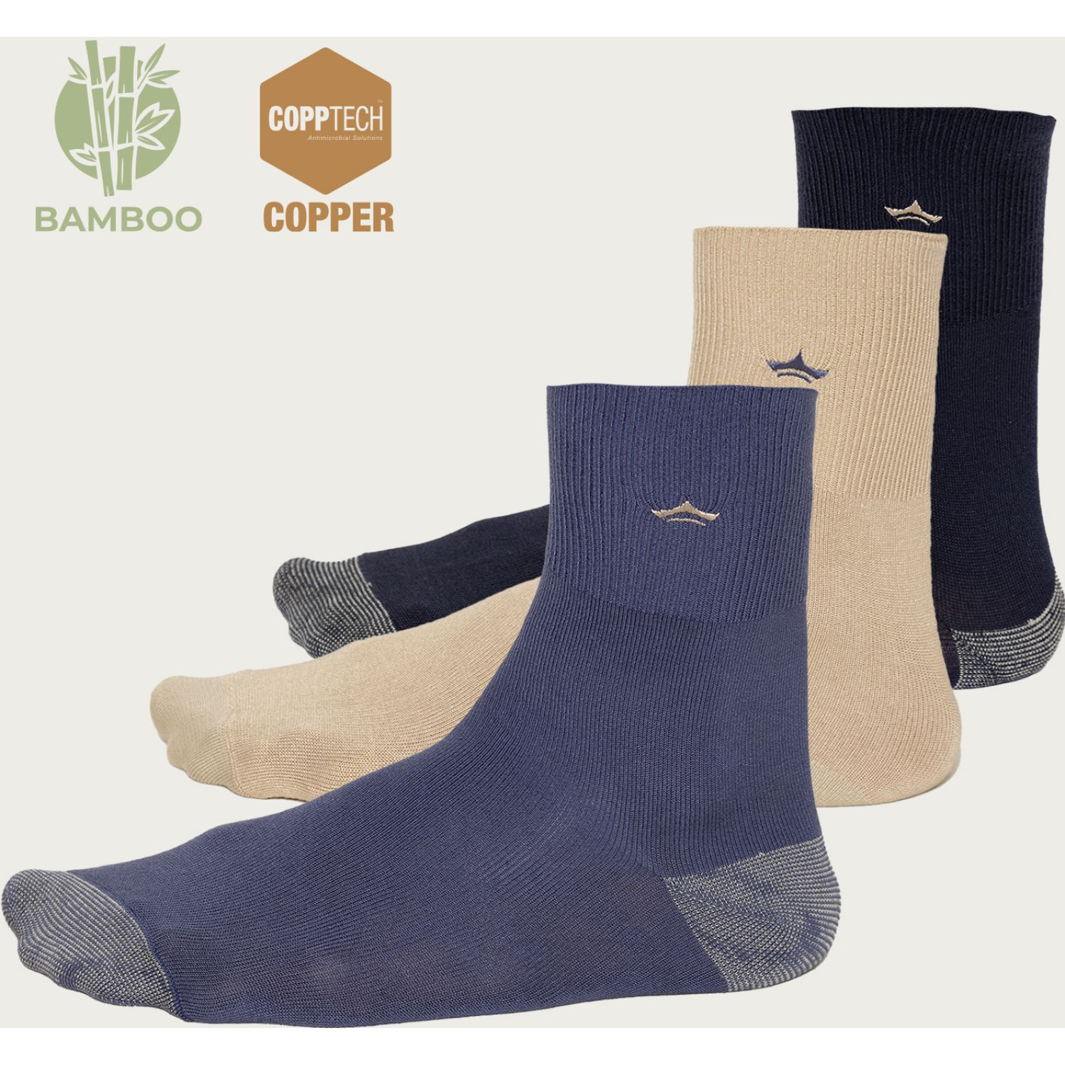 PALMERS Pack 3 Calcetines Cobre Bamboo Azul / beige Calcetines