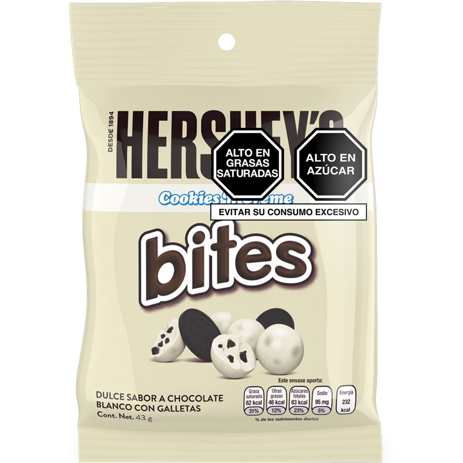 HERSHEY'S Bites Cookiesncream 43g Sin color Surtidos de dulces y chocolate